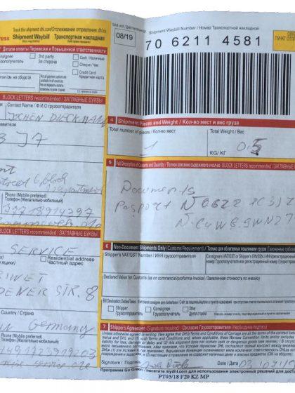 DHL Papiere