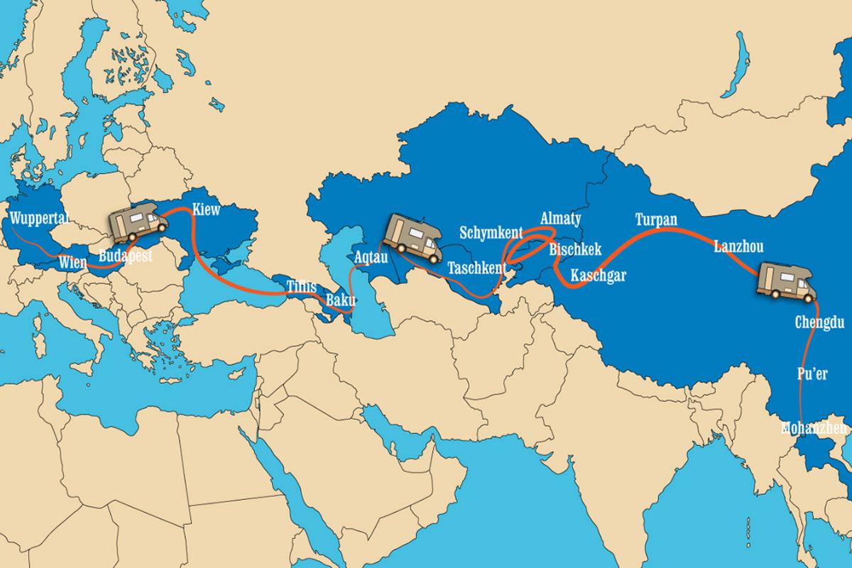 Karte der Reise mit dem Auto nach Cina